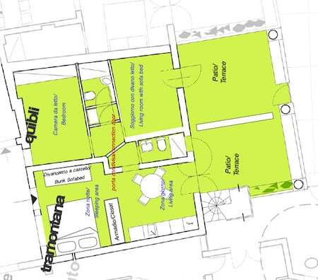 Plan of Tramontana Loft and Qibli Suite