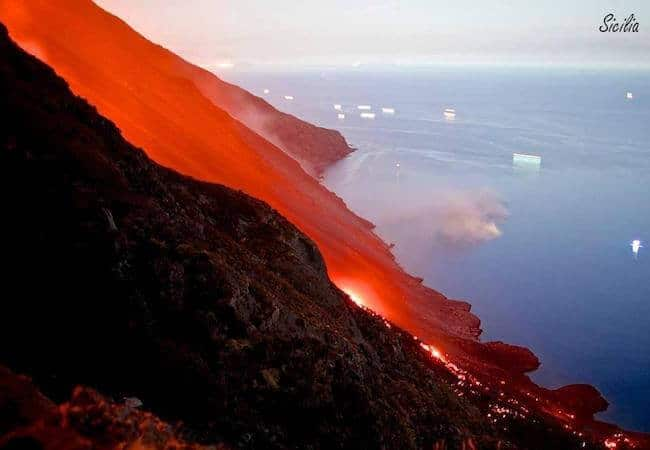red Lava flow of Stromboli