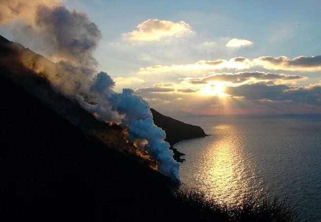 Lava flow of Stromboli at sunset