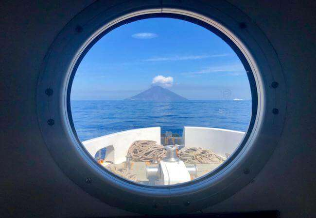 stromboli seen from the hydrofoil